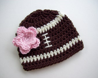 Crochet Football Hat, Ready to Ship, Baby Girl Beanie, Football Hat, Baby Girl Hat, Football Beanie, Crochet Baby Hat, Newborn Photo Prop
