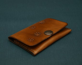 Leather Coin Purse,Card Holder, Cat Paws,cowhide, leather gift, accessories,  purse, men coin purse, 2centsleathershop,