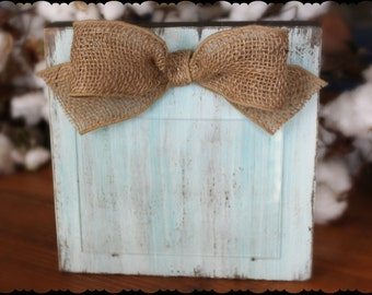 Turquoise Picture Frame Distressed Frame Rustic Picture Frame Shabby Chic Chunky Wood Block 5x7 Picture Frame Burlap Ribbon Bow