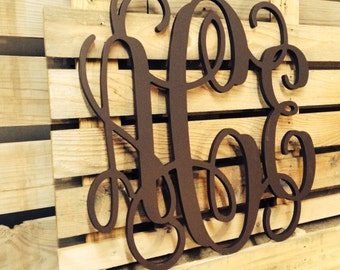 "Extra Large Wooden Monogram |  Unpainted | 32"" 34"" 36"" 