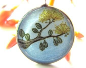 Yellow Ohia Lehua Blossoms; Necklace