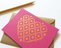 Love Stationery Set, Gold Heart, Glam, Hot Pink Paper (Set of 3 Cards)