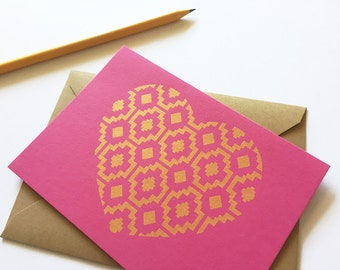 Love Card Set, Gold Heart, Glam Design, Hot Pink Cards (Set of 3)