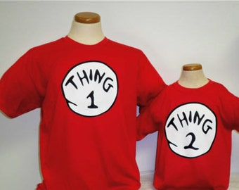 Dr seuss Thing 1 2 3 4 5 6 7 8 9 10 t shirt baby toddlers children teens adults red white twins best friends family gift cat in hat matching