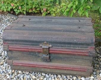 Vintage metal travel trunk