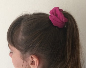 Hot Pink Fuchsia Suede Leather Scrunchie