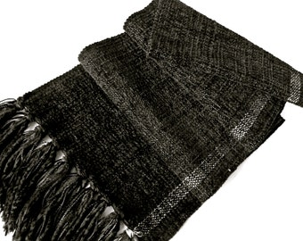 Handwoven Soft Chenille/ Black Plain  Weave Scarf.