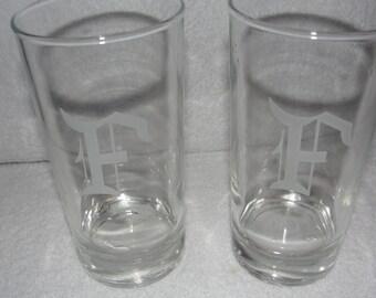"FOUR  ""F"" Monogrammed 12 oz glasses"