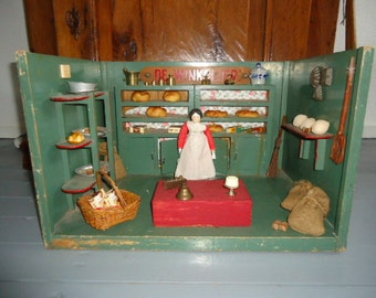 vintage wood doll's shop/grocery shop for doll's/children toy collectors item/dutch doll house