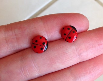 Ladybug Earrings, Hand Sculpted and Painted