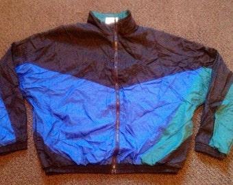 Vintage Mens Avait Sport Athletic Zip Up Black & Blue Windbreaker Jacket Sz: L