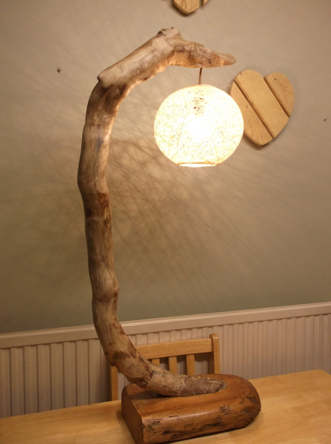 Large driftwood table lamp floor lamp hand made for Driftwood tables handmade