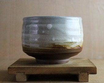 Anagama wood fired stoneware tea bowl (chawan) with shino glaze