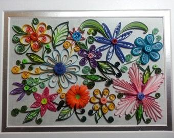 Original Quilling Artwork: Whimsical Flower Garden