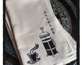 5 Designs - Unbleached Cotton Silk Screen Flour Sack Cotton Dish Towel - Hand Printed by Frenetic Press - Ginko, Coffee, Chicken, Bee, Fern