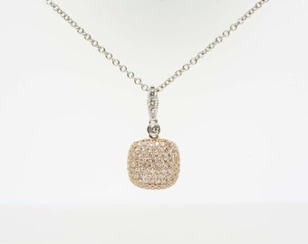 0.75ct Two Tone White And Rose Gold Diamond Pendant