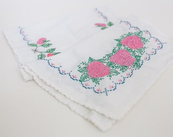 ON SALE!! Beautiful Cross Stitched and Embroidered Pink Flower Runner