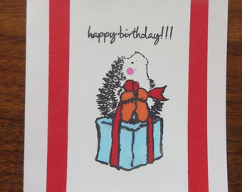"Hedgehog with present ""Happy Birthday"" card"