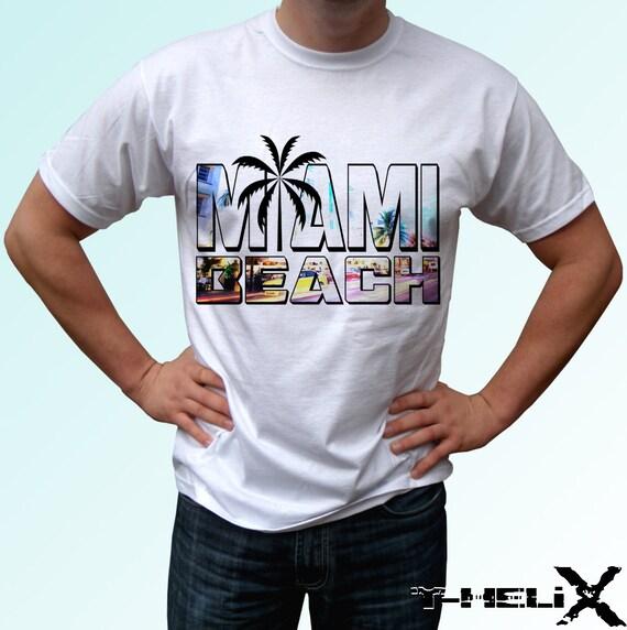 Miami beach new white holiday t shirt florida city print for Miami t shirt printing