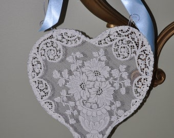 Handmade Vintage White Lace Heart Decor, Wedding Decor, Photo Prop, SIZE MEDIUM