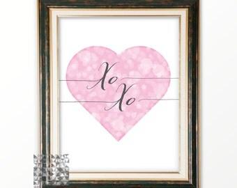 Typographic Print Valentine Card Digital Print Heart Print Love Illustration Love Art Heart Illustration Wall Art Love Card XO XO  : A0216