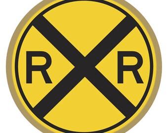 Railroad Crossing Wood Plaque / Sign