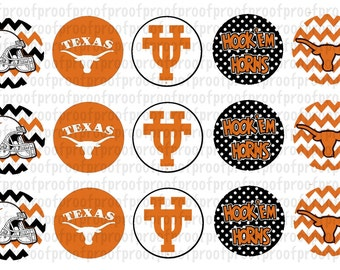 Texas Longhorns Inspired Bottle Cap Images