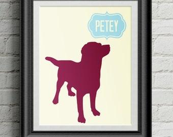 Custom Pet Silhouette - Dog Silhouette  - Custom Pet Portrait