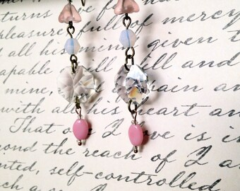 Handmade.Earrings.Vintage Inspired Jewelry.Chandelier Crystal.Antique Trinkets.Pretty.Dangle.Fish Hook.Pink.Clear.Gift