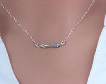 Arrow Necklace, Initial Arrow Necklace , Heart with Initial, Celebrity Arrow Necklace,  Jennifer Meyer's/Anna Kendrick's/Julianne  Necklace