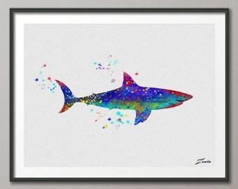 Shark Watercolor shark  illustration shark Art Print Wall Gift Poster Giclee Wall Decor  shark  Art Home Decor Wall Hanging A008