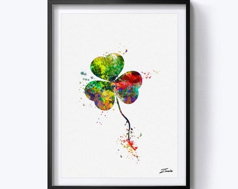 clover art print watercolor clover poster print art decoe clover wall art print clover watercolour painting gift for her A151