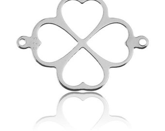 Charm CLOVER made of hearts Silver 925