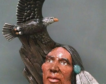 SALE!!!Soaring Eagle--Native American Indian Figurine--Heirloom Quality--Hand-painted Ceramic--Home Decor--Native American Art