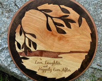 Love, Laughter Inlaid Wood Sign
