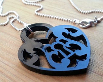 Heart Lock Laser Cut Necklace - Black Acrylic Silhouette Jewelry