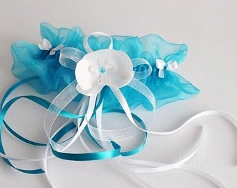Turquoise and white organza garter