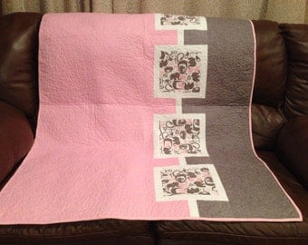 Pink Elephant Dreams Baby Quilt
