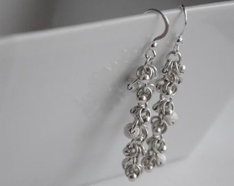 Sterling Silver Earrings, Shaggy Loop, Sparkle Beads, Silver Beads, Chainmaille, Handmade, Jewellery