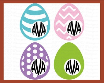 Monogram Easter Eggs for use with vinyl, SVG & DXF cutting file. Instant download, Silhouette cameo/portrait, for commercial use.