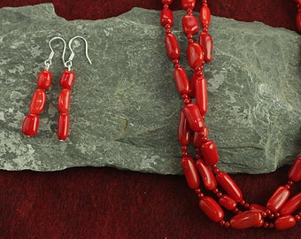 Jewelry for Bema Red Coral Stone and Bead Necklace with matching Earrings.