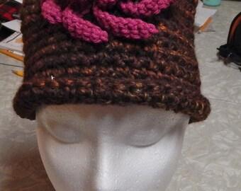 Brown Crochet Hat, Big Pink Flower