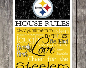Pittsburgh Steelers House Rules 4x4.1/2 Fridge Magnet