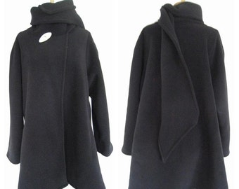 Fleece Scarf Coat Black