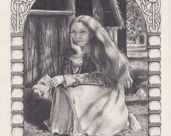 Viking woman pencil sketch