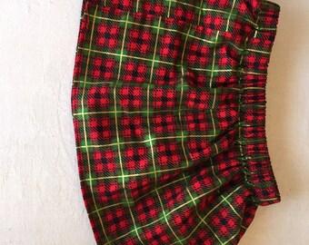 Red, Green, Black, plaid skirt, 3-6 months, 6-9 months