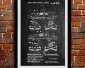 Batman Batmobile 1960 - Superhero Decor - Geek Decor - Patent Print Poster Wall Decor - 0069