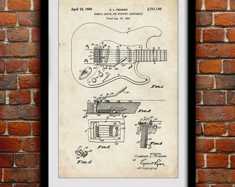 Original Fender Guitar 1956 - Music  Decor - Patent Print Poster Wall Decor - 0074