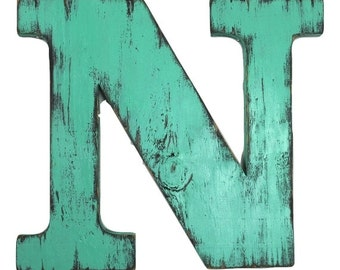 Uppercase wood letter N  12 inch wood letter hanging wall wooden letters wedding guest book letters shabby chic letters painted Meadow