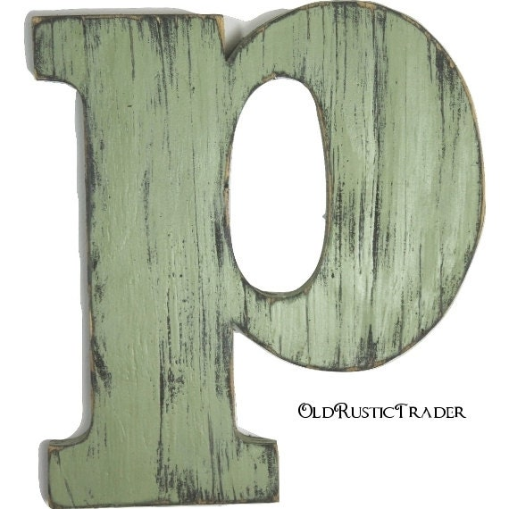 Wooden letters p home decor 12 inch large wood letter wall for Large wooden letter p